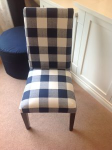 Buffalo check chair DIY, reupholster http://theblissofthis.com/category/diy-crafts/
